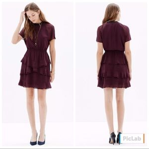 Madewell Radiant Dress Plum Ruffled Sz 4